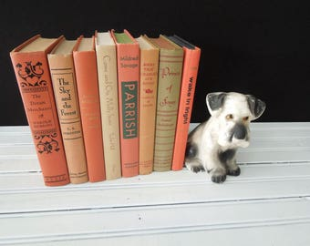 Coral Peach Tan Hardcover Book Stack - Decorative Vintage Books by Color - Books for Decor - Instant Library