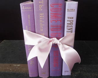 Wedding Garden Party Purple Book Stack - Lavender Books for Decor - Violet Prop Photo Shoot Interior Bookshelf Decor Vintage