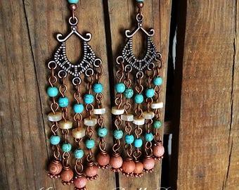 Handmade Bohemian Earrings - Chandelier Earrings - Wood Copper Mother of Pearl and Turquoise Magnisite Earrings - Western Jewelry - Boho