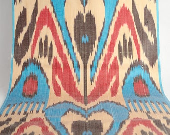 uzbek ikat fabric by the yards, red, blue, cream, ikat