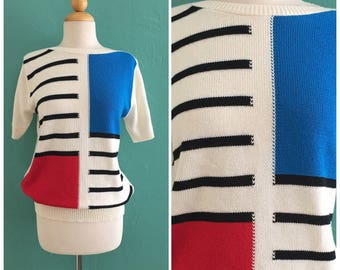 80's color block hand knit sweater //  knit fall  top ~ small medium