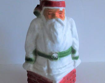 Older Papier Mache Pulp Santa Coming Down the Chimney