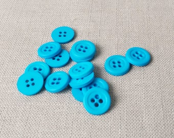 """12 Fun Turquoise Two 1/2"""" (13 mm) buttons"""