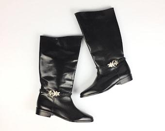 Vintage Black Riding Boots Moon & Stars Celestial Seychelles size 9
