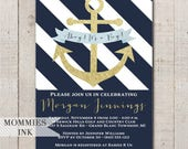 Nautical Baby Shower Invitation, Navy and White Invitation, Anchor Invitation, Gold Anchor Invite, Ahoy Its a Boy Baby Shower Invite, Gold