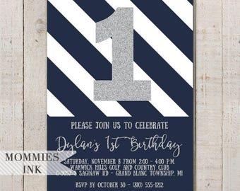 Navy and Silver Birthday Invitation, Blue Stripes, Silver 1st Birthday Invite, Silver Invitation, 1st Birthday Invite, 2nd Birthday, Modern