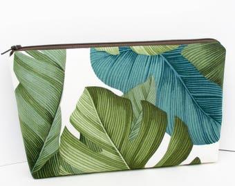 Zippered Make Up Bag, Green Tropical Leaves, Hawaiian Cosmetic Zipper Pouch