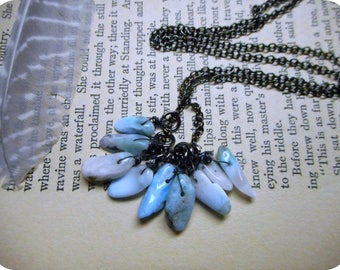 The Ninth Sea Larimar Fringe Necklace. Genuine Blue Larimar Gemstone & Gunmetal necklace.