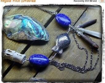 The Fisherman's Wife Necklace Genuine sea urchin shark bone vertebra Jasper fish BoHo Handmade OOak assemblage Sea Lover