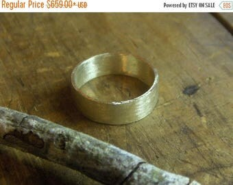 The Wide Wedding Band Ring. 14K Gold Wedding Band Unisex made to order. 6mm wide simple minimalist band Brushed finish
