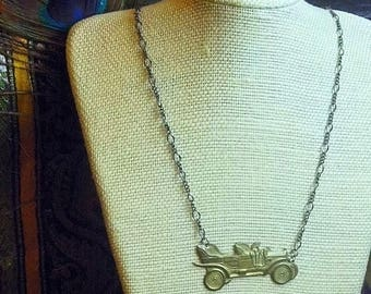 SALE Gatsby style. Vintage automobile Ford model T  classic car necklace
