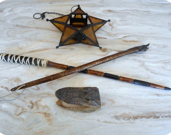 Mojo. Choice of: Spellcaster Magic Wand  (Genuine deer antler & leather) or Wandering Scepter Diving Stick (Genuine Turtle Claw) Pecan