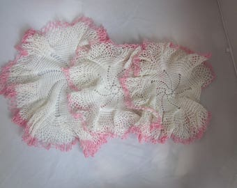 SET OF THREE Pink and White Doilies 1940s