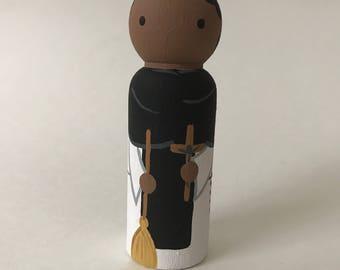 St. Martin de Porres - Wooden Peg Doll