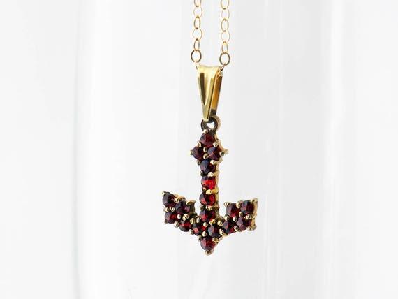 Vintage Garnet Anchor Necklace | Bohemian Red Garnet Pendant | Pyrope Garnets | Gilded 900 Silver | Anchor, a Symbol of Hope - 18 Inch Chain