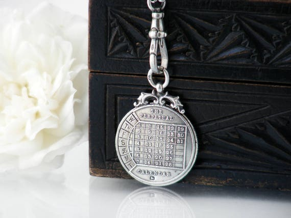Victorian Perpetual Calendar Fob Pendant | Antique Sterling Silver Medallion | 1897 English Silver Hallmarks - 29 Inch Chain & 925 Fob Clip