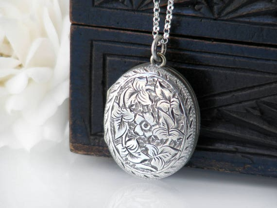 Antique Sterling Silver Locket | Victorian Silver Photo Locket | Gothic Revival Design, Ivy Leaves and Forget-Me-Not Flowers - 22 Inch Chain