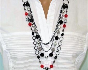 Long Black Beaded Necklace, Long Multi Strand Necklace, Black Red Necklace, Red Beaded Necklace, Black Necklace, Long Beaded Necklace, N862