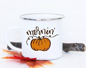 ORDER BY DEC 7 - Morning Pumpkin Camp Fire Mug - Fall Camp Mug, Fall Mug Decor, Pumpkin Camping Mug, Pumpkin Mug, Cute Fall Mug, Bonfire Mug