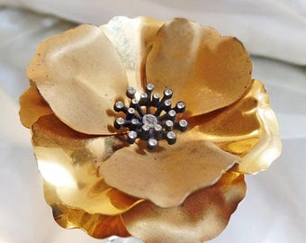 SALE Vintage Gold Rhinestone Flower Brooch.  Large Brushed and Shiny Gold Tone Flower Pin with Clear Rhinestones.