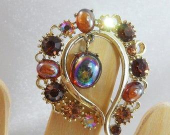 SALE Vintage Rhinestone Brooch. Lisner. Dangling Bead. Golden Brown Aurora Borealis AB.