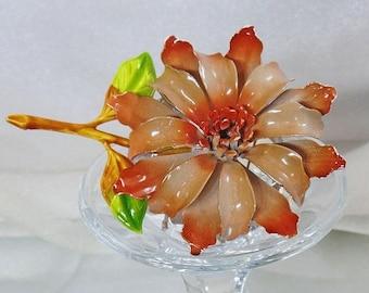 SALE Vintage Large Brown Flower Brooch. Brown Enamel Flower Power Pin.  Mod Flower Brooch.