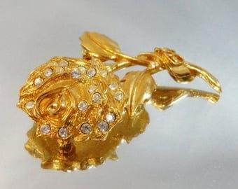 SALE Vintage Rose Brooch. Gold. Rhinestones. Avon. Rare Flower Pin.