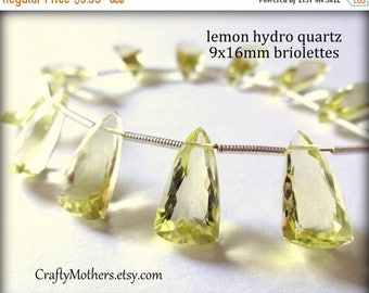 7% off SHOP SALE LEMON Hydro Quartz Faceted Pyramid Briolette, Pendant Focal or Both, 9mm x 16mm - Last One