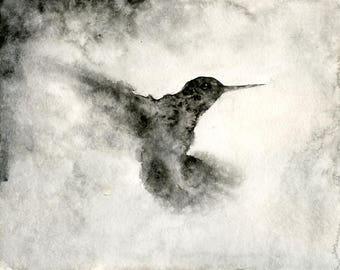Hummingbird Original watercolor painting 10x8inch