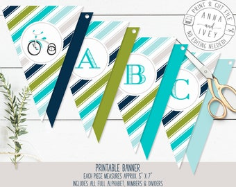Blue and Green Tricycle Banner, Birthday Banner, Vintage Tricycle, Ready-to-Print {Letters, Numbers & Dividers Included}
