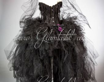 Custom Size black and purple widowed bride corset dress with veil, bouquet, gauze, and roses s-xl