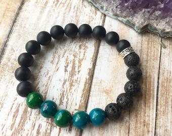 Teal and Black Essential Oil Diffuser Bracelet