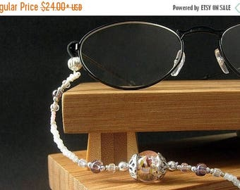 HOLIDAY SALE Beaded Lanyard. Pink Eyeglass Necklace. ID Lanyard. Silver Glasses Lanyard. Student Lanyard. Losing My Marbles Handmade White L