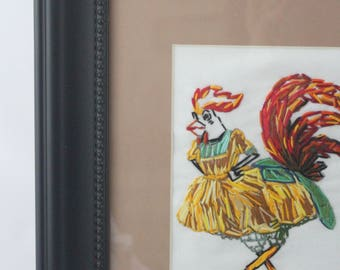 Chicken Embroidered Contemporary Home Decor, Kitchen Decor, Wall Art, Fiber Art, Embroidery Art, Rooster, Bird, Funny Art