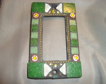 MOSAIC Outlet Cover or Switch Plate, GFI Decora, Wall Plate, Wall Art, Shades of Green, White, Silver, Millefiori
