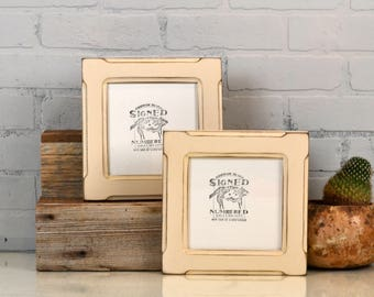 """6x6"""" Square Picture Frame in Wide Bones Style with Vintage Ivory Finish - Handmade 6 x 6 Photo Frame - In Stock - Same Day Shipping"""
