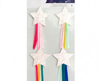 Shooting Glittered Stars with Ribbon Dear Lizzy Star Gazer Embellishments 4/Pkg (343437)