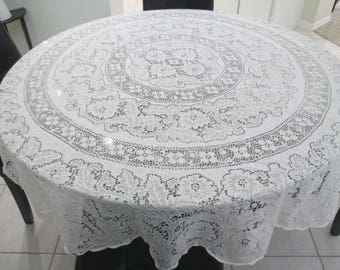 Beautiful Vintage Round Lace Tablecloth White Cotton