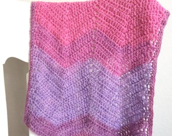 Baby Blanket - newborn size - pink and lilac ombre