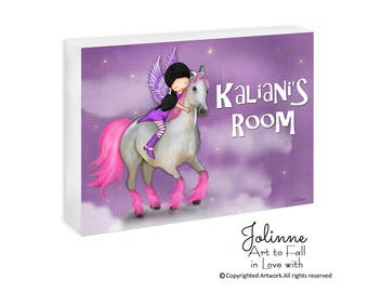 Unicorn Door Sign Custom Name,Personalized Baby Room Door Sign,Purple Artwork Baby Name,Girls Room Door Plaque,Children's Room Art Decor