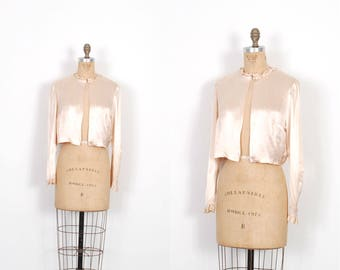 Vintage 1940s Blouse / 40s Silk Satin Ruffled Bed Jacket / Pale Pink ( small S )