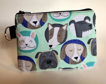 Handmade Happy pups small pouch with zipper and key ring | Dogs | Dog lover | Fur friend | Fur baby | Ready to ship!