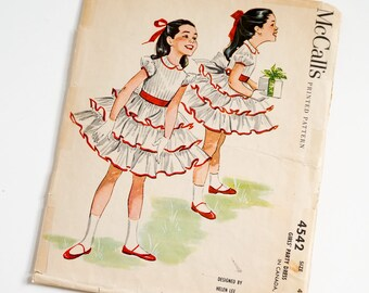Vintage 1950s Girls Size 4 Helen Lee Party Dress McCalls Sewing Pattern 4542 Complete / b23 w21 / Tiered Ruffled Skirt