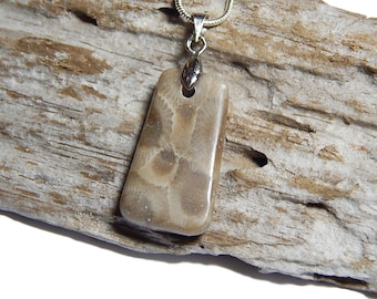 "Petite Petoskey Stone necklace sterling silver 18"" snake chain  Michigan jewelry rustic artisan State of Michigan Coral  upnorth Lake Fossil"