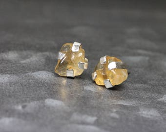 Raw Tumbled Citrine Stud Earrings Primitive Silver Four Flat Prong Golden Yellow Gemstone Glow November Birthstone Gift Idea - Bound Honeys