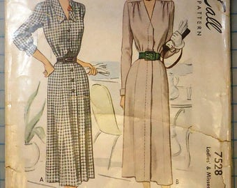 McCall #7528 - 1940s Sewing Pattern - One-Piece Tailored Dress