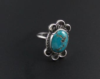 Turquoise Ring, Southwestern Ring, Southwest Jewelry, Statement Ring, Silver Turquoise Ring, Navajo Ring, Size 6 Ring