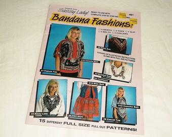 Vintage 80s Sassy Lady BANDANA FASHIONS! • Elizabeth Anne • with pattern