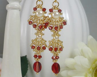 Woven Dangle Earrings with Swarovski Crystal Red Magma