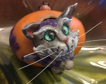 Grinning Cheshire Cat Alice in Wonderland Decor Collectible OOAK Handmade Ornament, Gray Tabby Cat, Lewis Carroll, Egg Art, Book Lover Gift